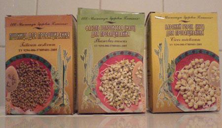 Зёрна для проращивания: пшеница, маш, нут